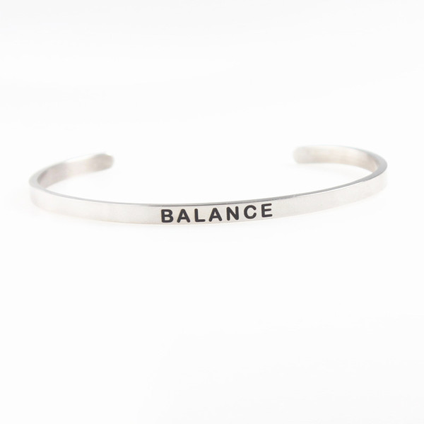 2018 New Silver Stainless Steel Engraved BALANCE Positive Inspirational Hand Stamped Cuff Bracelet Bangle For Women Best Gifts 10Pcs/lot
