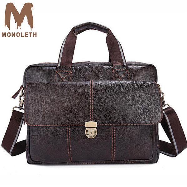 MONOLETH 2018 New briefcase men Genuine Leather Briefcases Male Handbag Business travel Working Shoulder Bags W315
