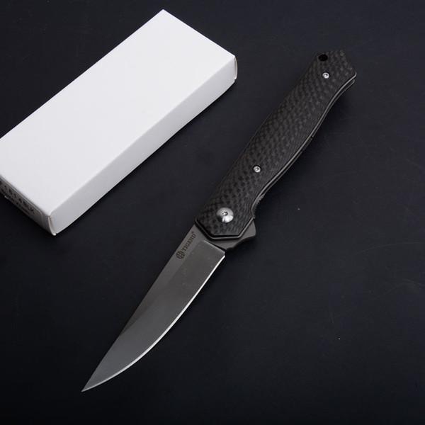 Ball Bearing Flipper Folding Knife D2 Titanium Coated Blade Carbon Fiber Handle EDC Pocket Knives Gift Knife EDC Gearz