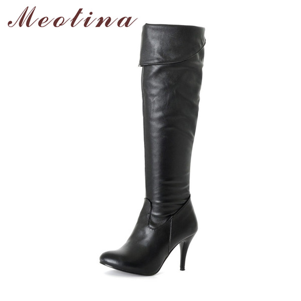 Women Boots High Heels Thigh High Boots Winter Sexy Over Knee Boots Ladies Autumn Shoes Black White Shoes Big size 10 43