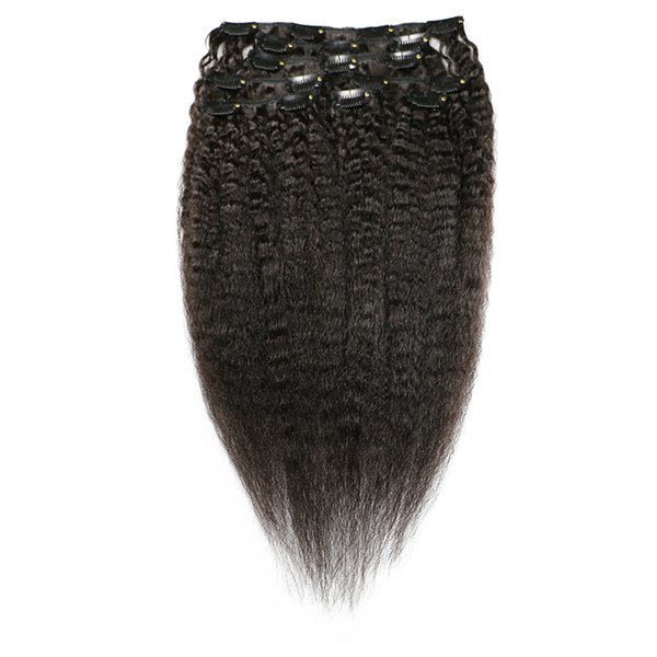 Coarse Yaki Kinky Straight Clip In Hair Extensions 100% Brazilian Human Remy Hair 120g/Set Natural Color