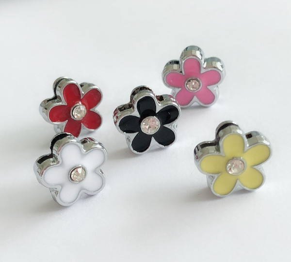 30PCs Mixed Color 8MM Enamel Flower Slide Charms Letters DIY Accessories Fit 8mm Wristband Pet Dog Name Collars Belts Phone Strips