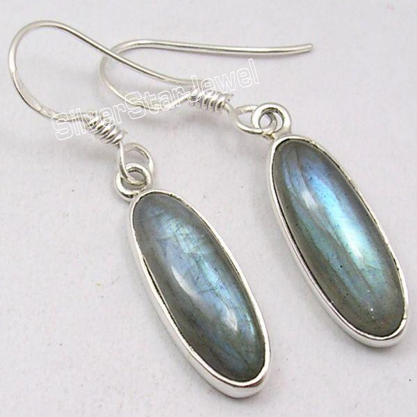 Chanti International Solid Silver Classic LABRADORITE Long Gems Sparkling Earrings 3.7 CM