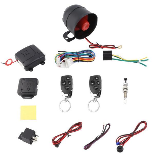 Professionelle Auto Alarm Fahrzeug System 1 Way Schutz Sicherheitssystem Keyless Entry Sirene mit 2 Fernbedienung Einbrecher Schwarz