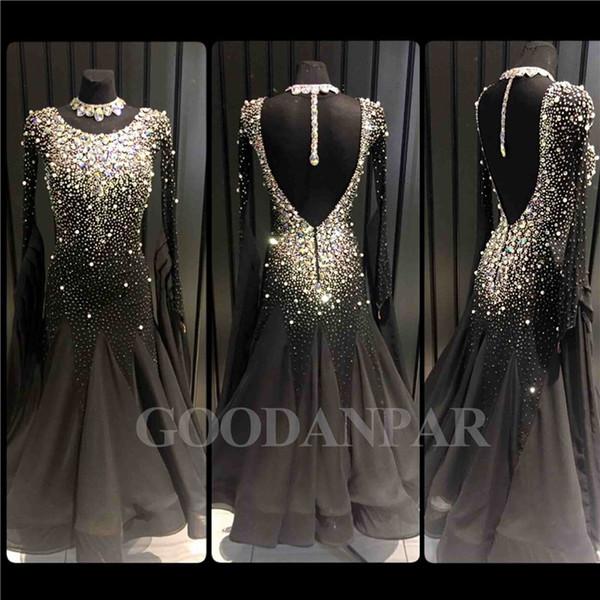 Ballroom Dancing Dress Newest Design Donna Modern Waltz Tango Dance Dress standard sexy nero manica lunga spandex