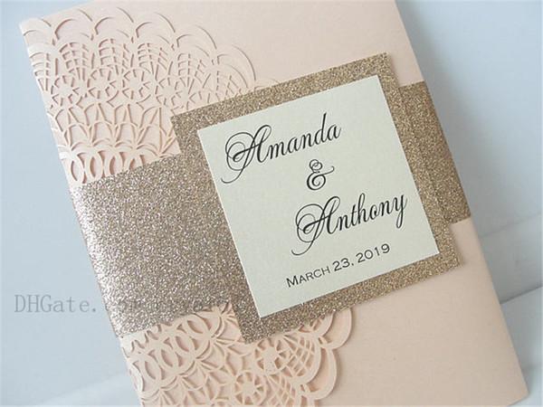 top popular Lasercut Wedding Invitation With Envelope And Tag, Laser Cut Pocketfold Wedding Invitation, Pocketfold Invite, Free Shipping 2021
