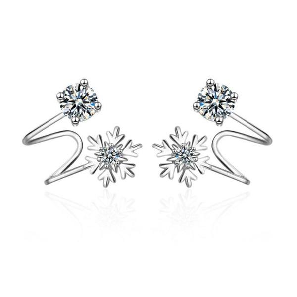 Korea Popular Girls Jewelry Fashion Temperament No Ear Hole Pure Copper Earrings Snow Zircon Earrings For Women