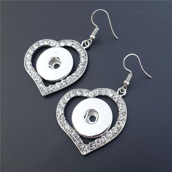 12 paires / lot Mode strass coeur noosa morceaux de métal gingembre 18mm bouton pression prise boucles d'oreilles pour les femmes bijoux cadeau