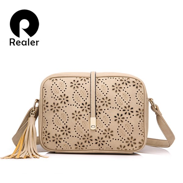 REALER women messenger bags tassel floral hollow out ladies small shoulder crossbody bag female purse school student bag tote