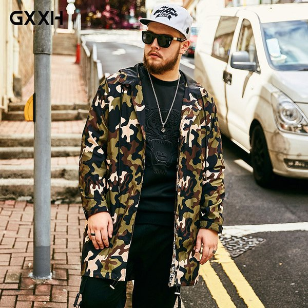 2018 Autumn trendy Large size Long trench coat Male Camouflage Loose Fashion Casual Hooded Flower Casual jacket Size XL-5XL 6XL