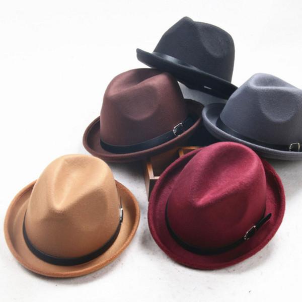 Fashin Small Belt Buckle Black Wool Male Engl Jazz Hat Imitation Wool Hat