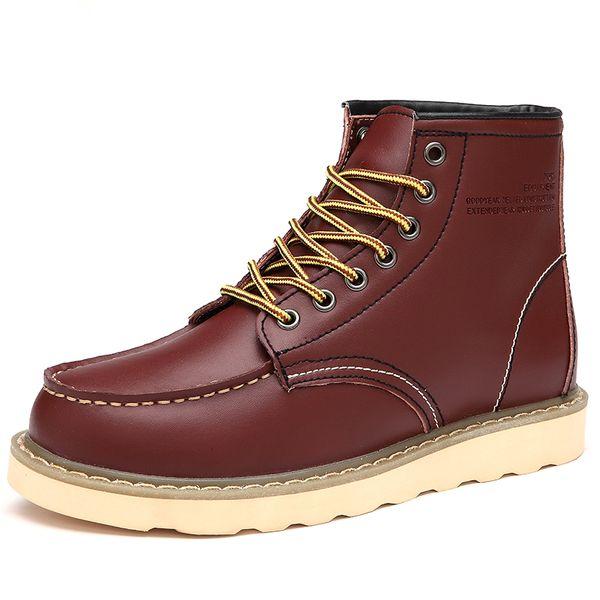 Hommes Bottes D'hiver Chaud Neige Botte Extérieure Cheville Botte Hommes Casual Plus La Taille 39-46 Hommes Appartements En Cuir Chaussures Sapato Masculino
