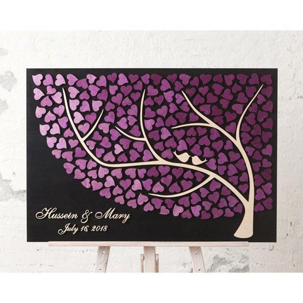 Personalized Tree Of Life Wedding Guest Book Alternative, 3D Wedding Guestbooks Tree, Unique Guestbooks With Love Birds