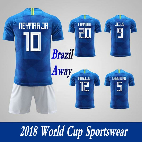 Men's Clothing Tracksuits Brazil National Team Away Football Sport Suits 2018 World Cup Soccer Uniform Clothes Shorts