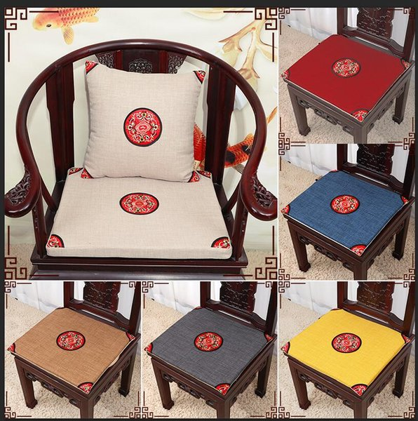 Ethnic Embroidery Vintage Chair Seat Cushion Cotton Linen Home Decor Chinese style Dining Chair round-backed armchair Cushions