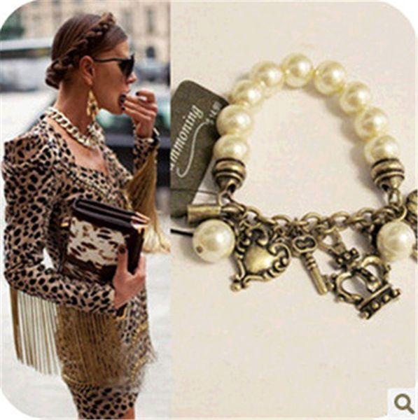 fashion retro key pendant pearl bracelet bracelet elastic crown