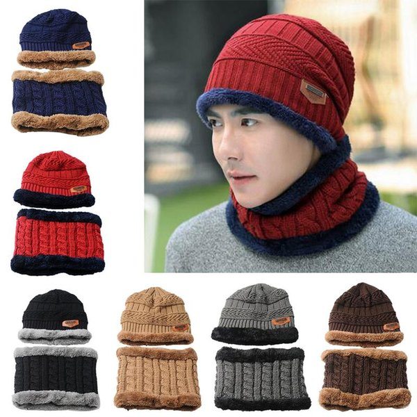 Autumn Winter Hat Men's Wool Cap Ladies Wool Knit Caps Bib Set Warm Knitted Hats Scarf Accessories For Female Male Beanie Scarfs