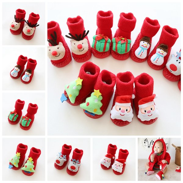 Christmas Cartoon Non-slip Baby Socks Shoes Children Infant Toddlers Thick Soft Cashmere Shoes First Walkers Floor Socks Decoration GGA1332