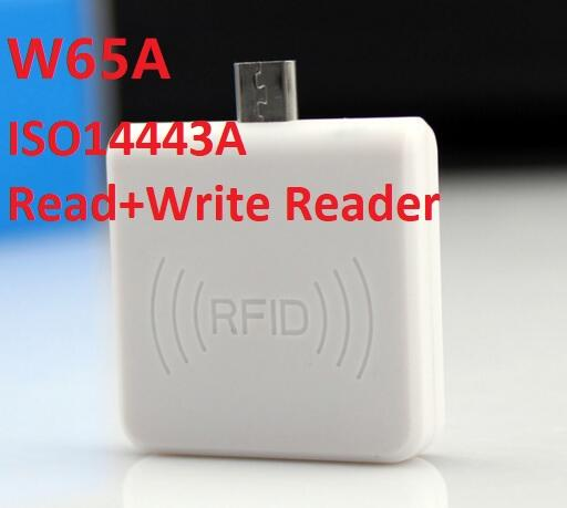W65A 13.56mhz 14443A NFC smart card Readerwriter Mini USB Android Contactless Card Reader / scrittore per Chip s50 s70 ntag213 100 set / lotto DHL
