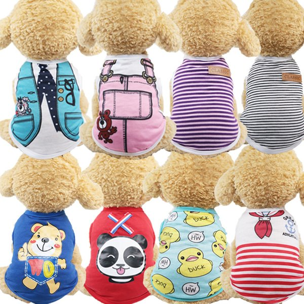 24 options Wholesale Spring / Summer Cartoon Pet Puppy Cat Shirt Jacket Cool Soft Cotton Dog Clothes for Small Dogs Schnauzer Clothing XS~XL