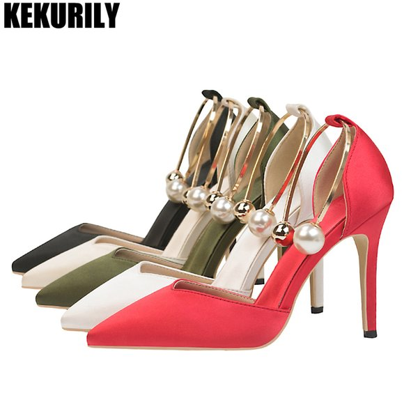 Women Shoes High Heels Pumps Metal decoration Peral Wedding shoes Pointed Toe Sandals Silk Slip on Slides Black Red gold silver