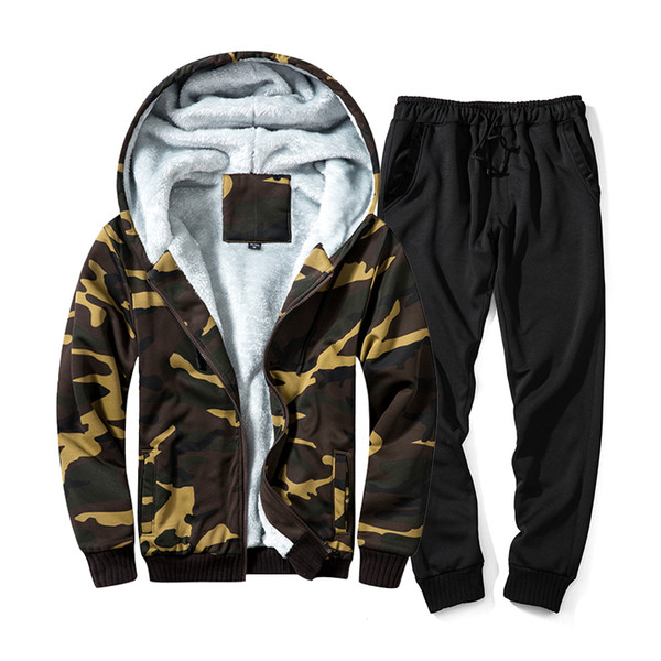 Winter Tracksuits Men Sets Sportswear Sets Thicken Hoodies + Pants Suit Sweatshirt Hoodie Sporting Suits Casual Jacket Trousers