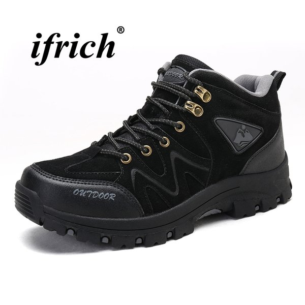 2018 Man Hiking Shoes Black Brown Male Mountain Shoes High Top Winter Sneakers for Men Rubber Sole Non Slip Hiking Boots