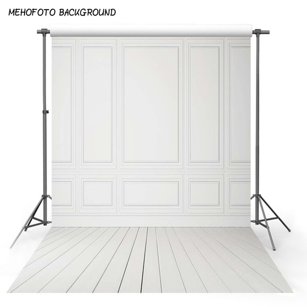 Fond de photographie de vinyle Plancher de bois et mur blanc Fond de fond de mariage imprimé par ordinateur pour photo Studio MR-1313