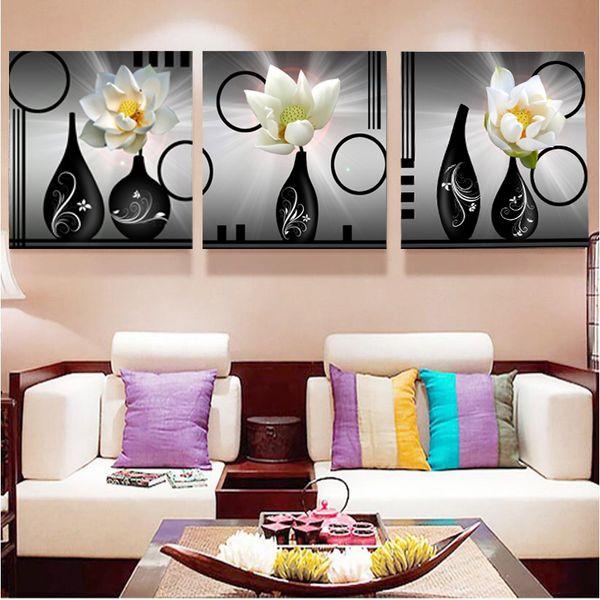 Moderne Leinwand Poster Für Wohnzimmer Modulare Wandkunst 3 Stücke Weiß  Lotus Blumen Vase Gemälde HD Drucke