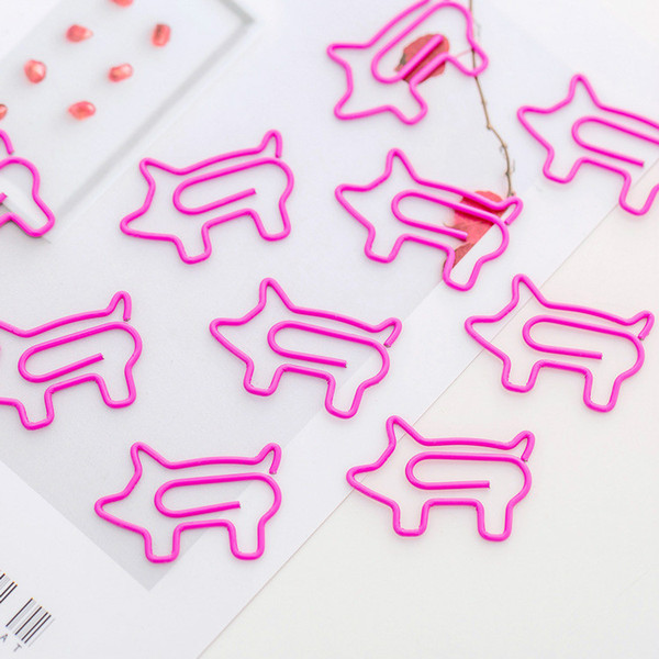 best selling Girls Pink Pig Bookmark Paper Clip Mini Ofiice Pin Students Stationery DIY Hand Account Accessory Office Document Guestbook Message Clips