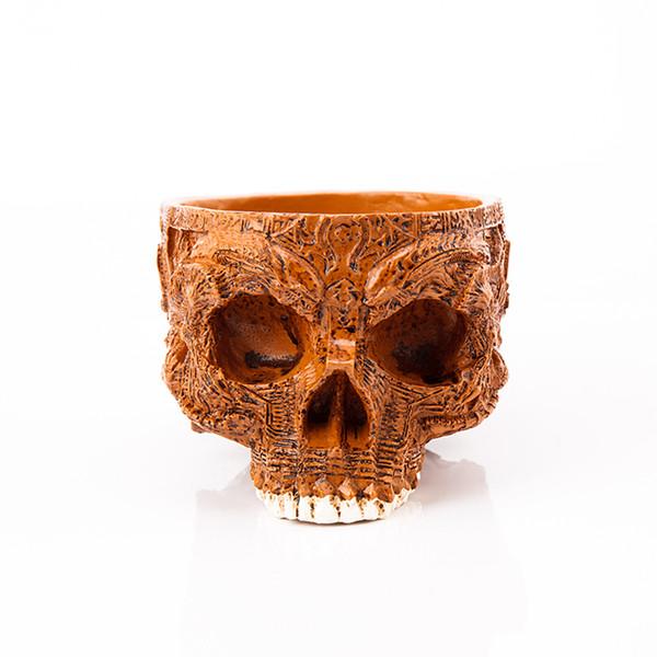 P -Flame Human Skull Flower Pot Decorative Bowls & Plates Hand Carved Resin Crafts Alien Mask Garden Pot For Halloween Home Decor