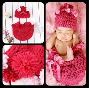 Crochet Cocoon And Beanie Hat Set Newborn Red Sleeping Bags Hand