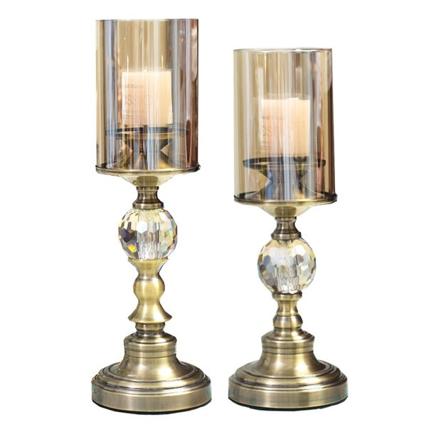 Crystal living room candle holder stainless steel handicraft metal decoration 2 pcs per set zinc alloy material
