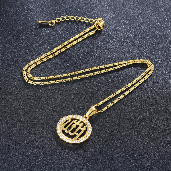 Top grade new product, 24K gold, Islamic totem, diamond / male fashion necklace, sweater chain A239#