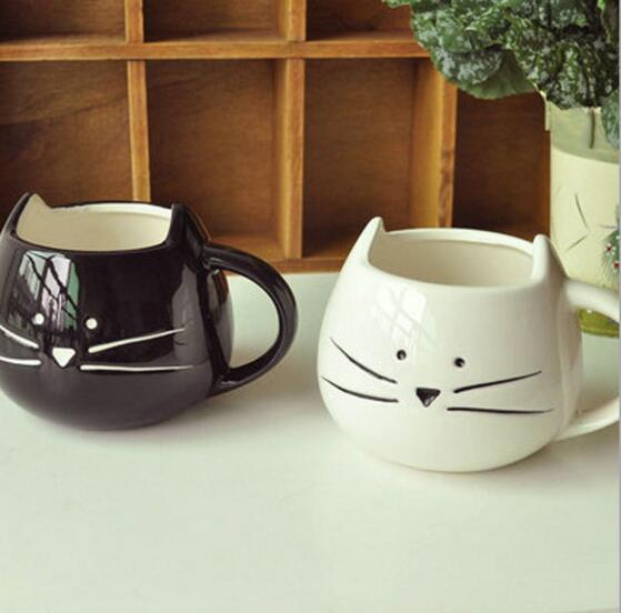 1 adet Yenilik Sevimli Kedi Hayvan Süt Kupa Seramik Yaratıcı Kahve Porselen Çay Bardağı Güzel Hediyeler