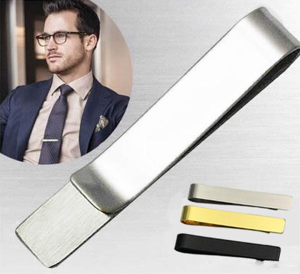 Pince à cravate En Acier Inoxydable Cravate Argent Noir Or Pour Hommes Cadeau Populaire Bijoux Slim Cravate Vitreux Business Suits Accessoires En Gros