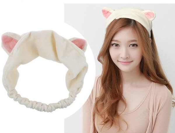 best selling Han edition cat ear hair band Multicolot cute cat head with makeup washs a face headband