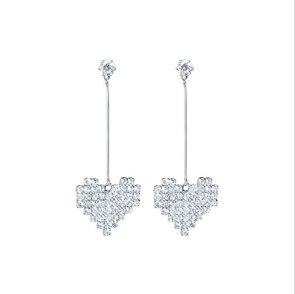 Korean temperament long style pendant female pure silver nail individual character joker earring Girlie earrings Fashionable joker earring