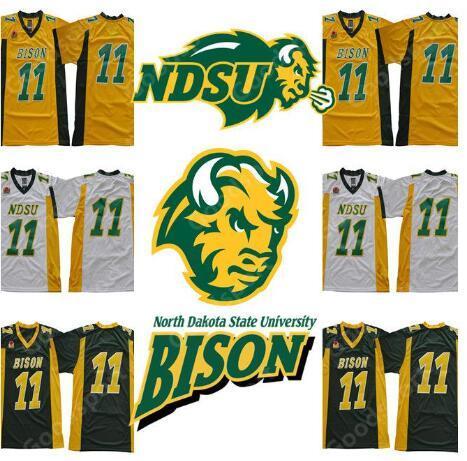NCAA NDSU Bison # 11 Carson Wentz Jersey Giallo oro Verde Bianco North Dakota State College Calcio Mens Youth Kids Jersey S-3XL