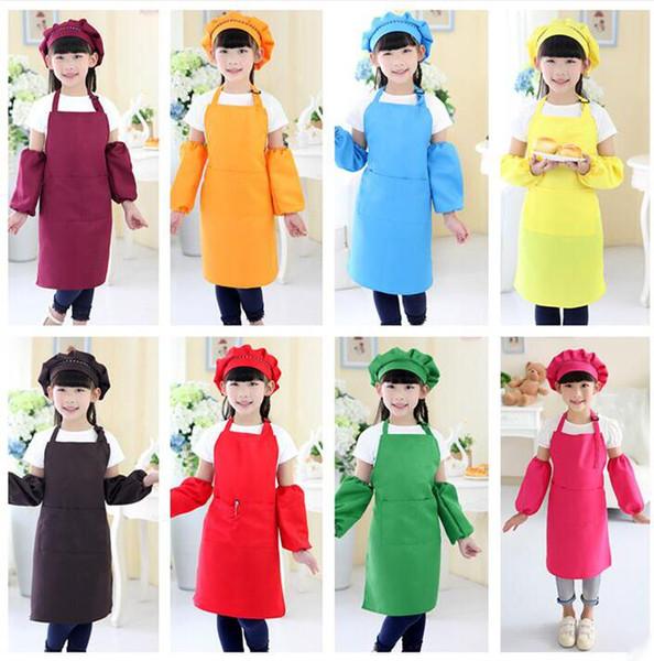 top popular Hot sale 10 colors free delivery children's apron pocket craft cooking baking art painting children's kitchen dining bib pocket JD001 2020