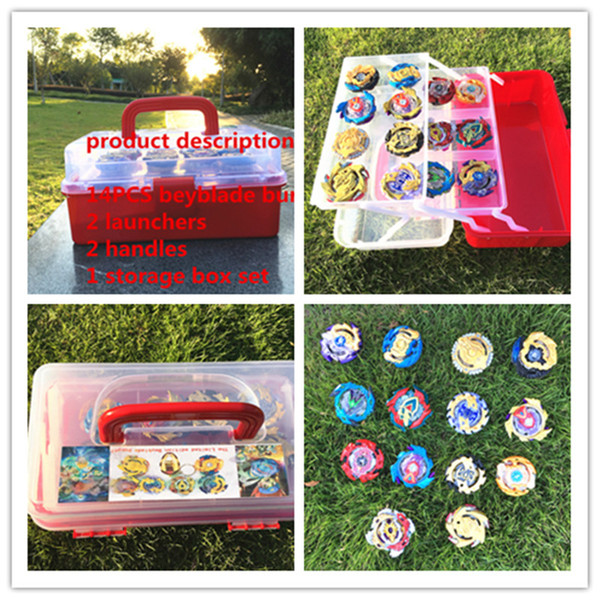 New beyblade set B113 (more than 20 spare parts +14 beyblades+2 launchers+2 handles+ storage box)as children birthday gifts