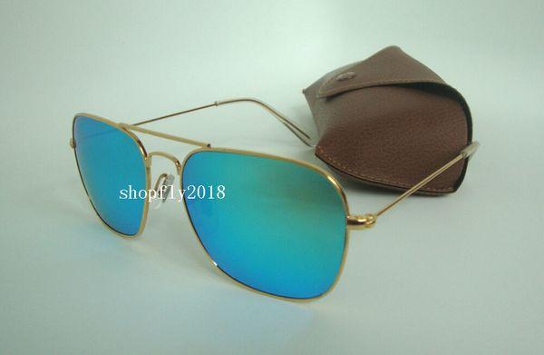 1Pair Rectangle Sunglasses For Mens Womens Metal CARAVAN Sun Glasses Eyewear Gold Green 58mm Glass Flash Mirror Lenses With Brown Case