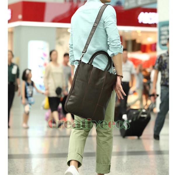 Korean Fashion Men PU Leather Briefcase Business Laptop Lattice Cross Body Messenger Shoulder Handbag Tote Casual Bag