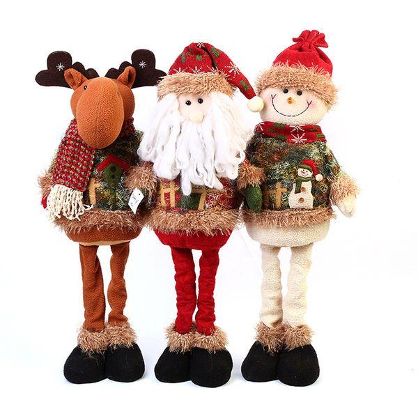 New Christmas Decorations Retractable Christmas Doll Santa Snowman Elk Christmas Presents Glass Christmas Decorations Glass Christmas Ornament From