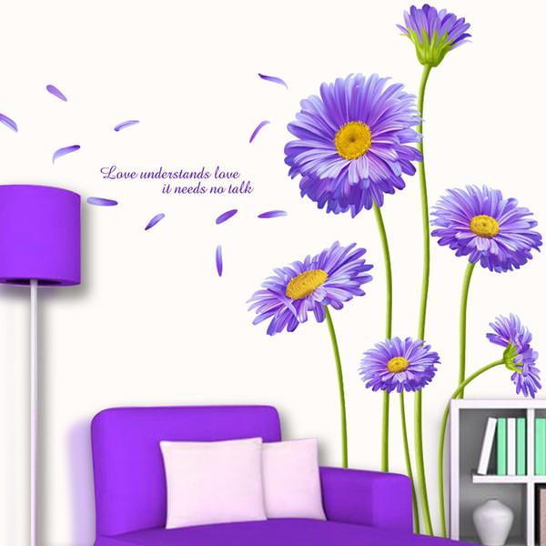 [SHIJUEHEZI] Netherlands Chrysanthemum Flower Wall Sticker PVC Material Aster novi-belgii Mural Art for Living Room Decoration