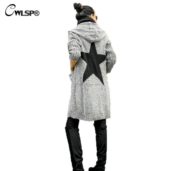 CWLSP Outwear Thick Cardigan Sweater Women 2018 Autumn Winter Five-pointed Star Knitted Sweater Coat Hooded pull femme hiver S118