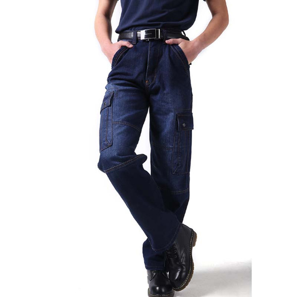 Plus Size 46 Men jeans Fashion Loose Men's Denim Long Cargo Pants Leisure Baggy Overalls Trousers Autumn Winter Jeans Mens Clothing Bottoms