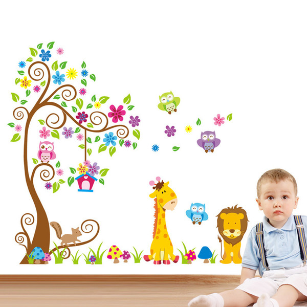 Large size 3D animal trees DIY owl wall sticker stickers for kids Baby Room mural Decoration wallpaper