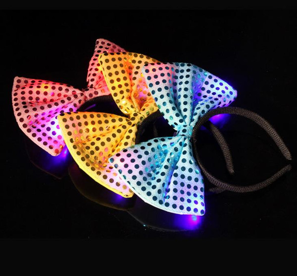 100pcs Sequins LED headband Light Up party hat luminous Flashing Blinking Party Favors Christmas Halloween Bar stage fancy dress props