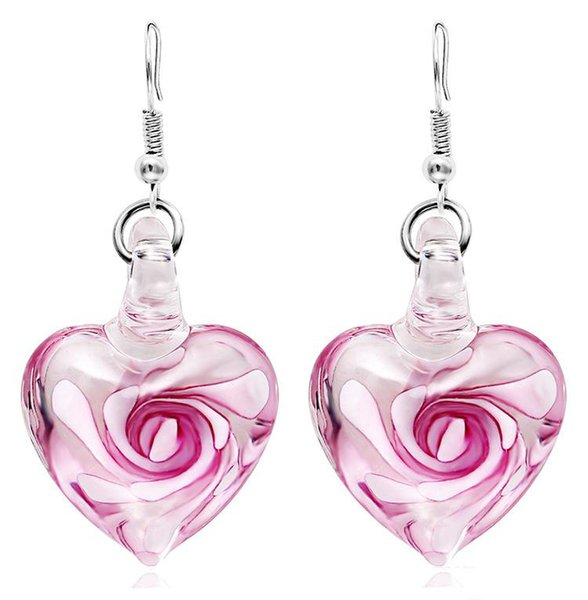 Wholesales 3 Colors Heart Murano Glass Floral Dangle Earring Fashion Earrings Luxury Designer Earring Designer Jewelry Big Hoop Earrings
